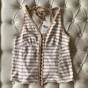 Free People Tan & White Striped Tank NWT SZ. S